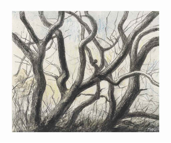 Four trees charcoal, watercolour wash.ballpoint pen and pastel on paper, 1981, Henry Moore (Image courtesy of Mutual Art)