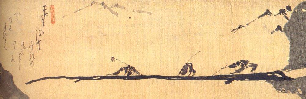 Blind Men crossing a Bridge, Hakuin Ekaku (1685–1768)