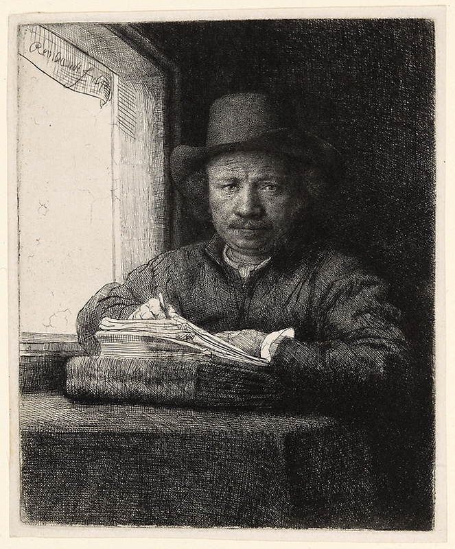 Self-Portrait Etching at a Window , Rembrandt, (Image courtesy of the Art Institute of Chicago)