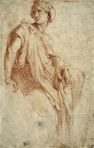 Raffaello Sanzio (b. 1483, Urbino - d. 1520, Rome) The Phrygian Sibyl (1511-1512) Drawing,  Department of Prints and Drawings, (Image courtesy of the British Museum)