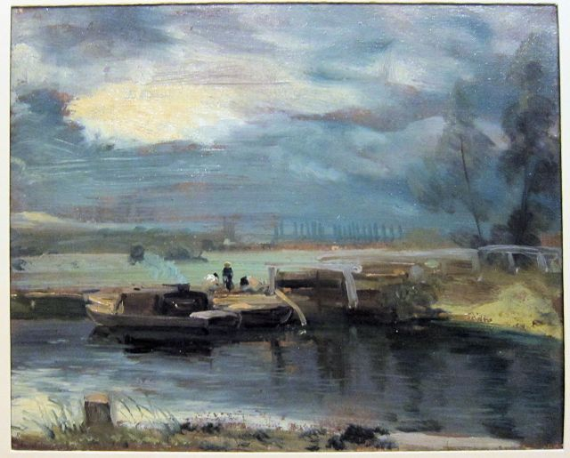 Barges on the Stour, with Dedham Church in the Distance, 1811, John Constable