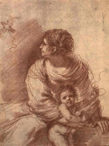 Guercino  (Giovanni Francesco Barbieri) , early 1630s, red chalk,   Madonna and Child with an escaped goldfinch (in the Andrew W. Mellon Collection at the National Gallery of Art).