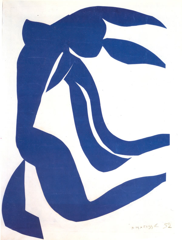 Blue Nude with her Hair in the Wind, 1952, gouache-painted paper cut outs, Henri Matisse (Image courtesy of www,henri-matisse.com)