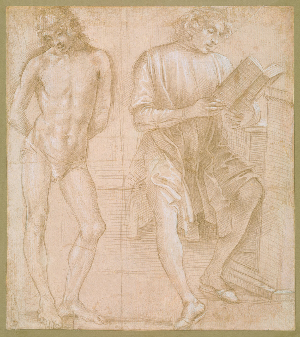 Standing Youth with his hands behind his back, and seated Youth Reading,   Metalpoint, highlighted with white gouache, on pink prepared paper (recto),  1457/58–1504,  Filippino Lippi (Image courtesy of the Metropolitan Museum, New York)