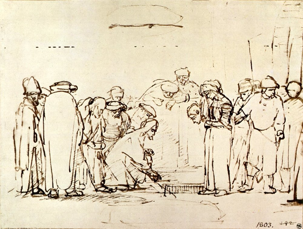 Jesus and the Adulteress,  Rembrandt