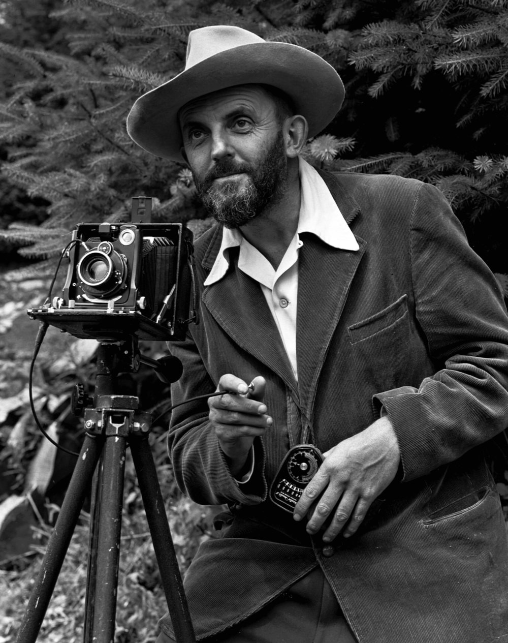 Ansel Adams with his Camera
