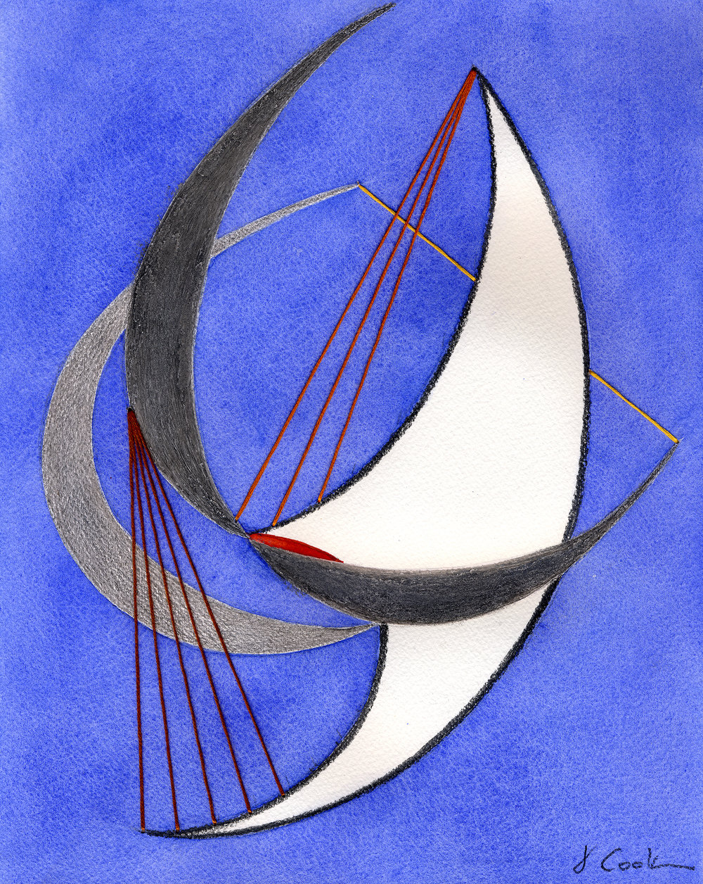 Symphony in Blue, silverpoint, graphite, watercolour and silk thread, Jeannine Cook artist