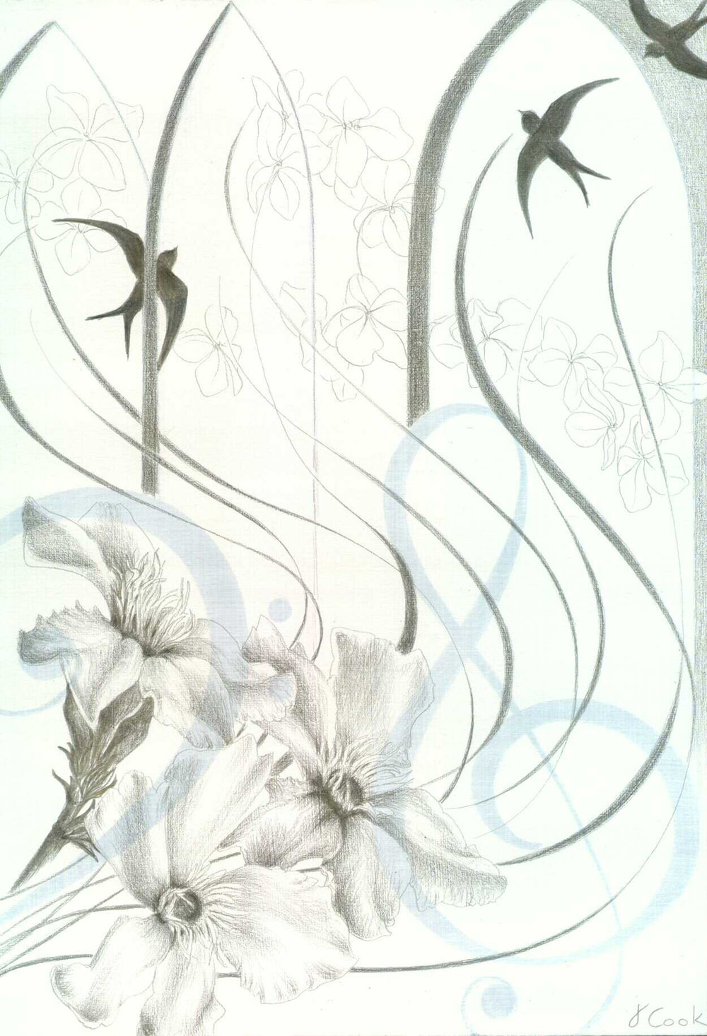 Spem in Allium , silverpoint and acrylic, Jeannine Cook artist. Private collection