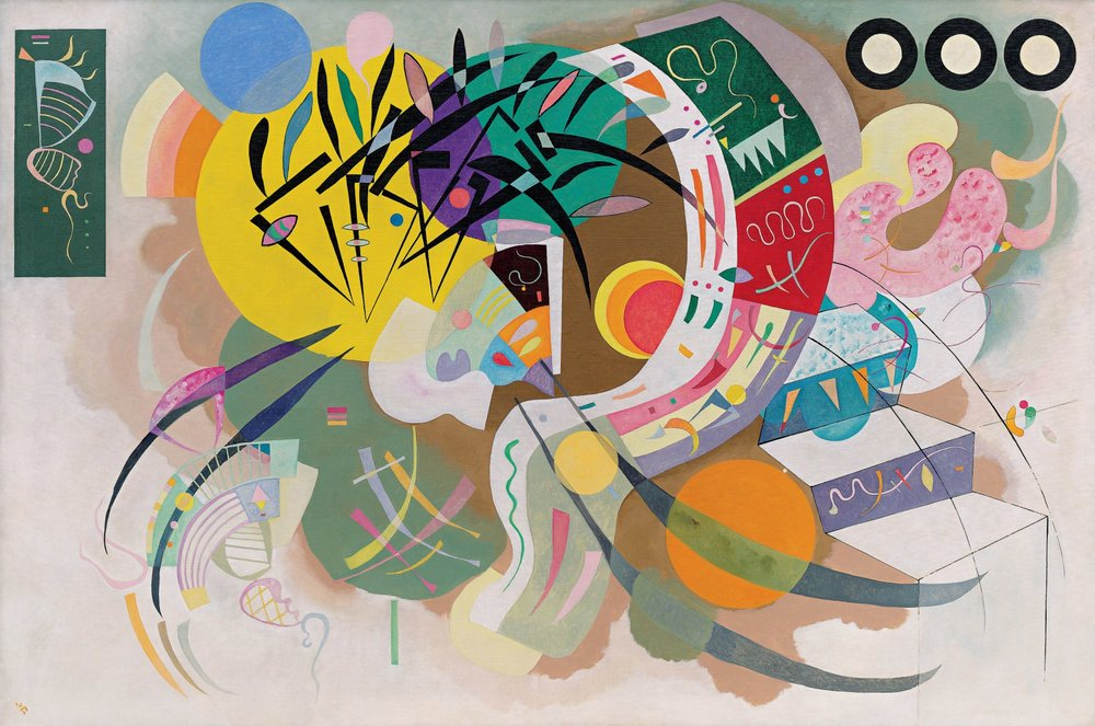 Dominant Curve, oil on canvas, Vassily Kandinsky,1936,  (Image courtesy of Solomon R. Guggenheim Museum, New York, Solomon R. Guggenheim Founding Collection)