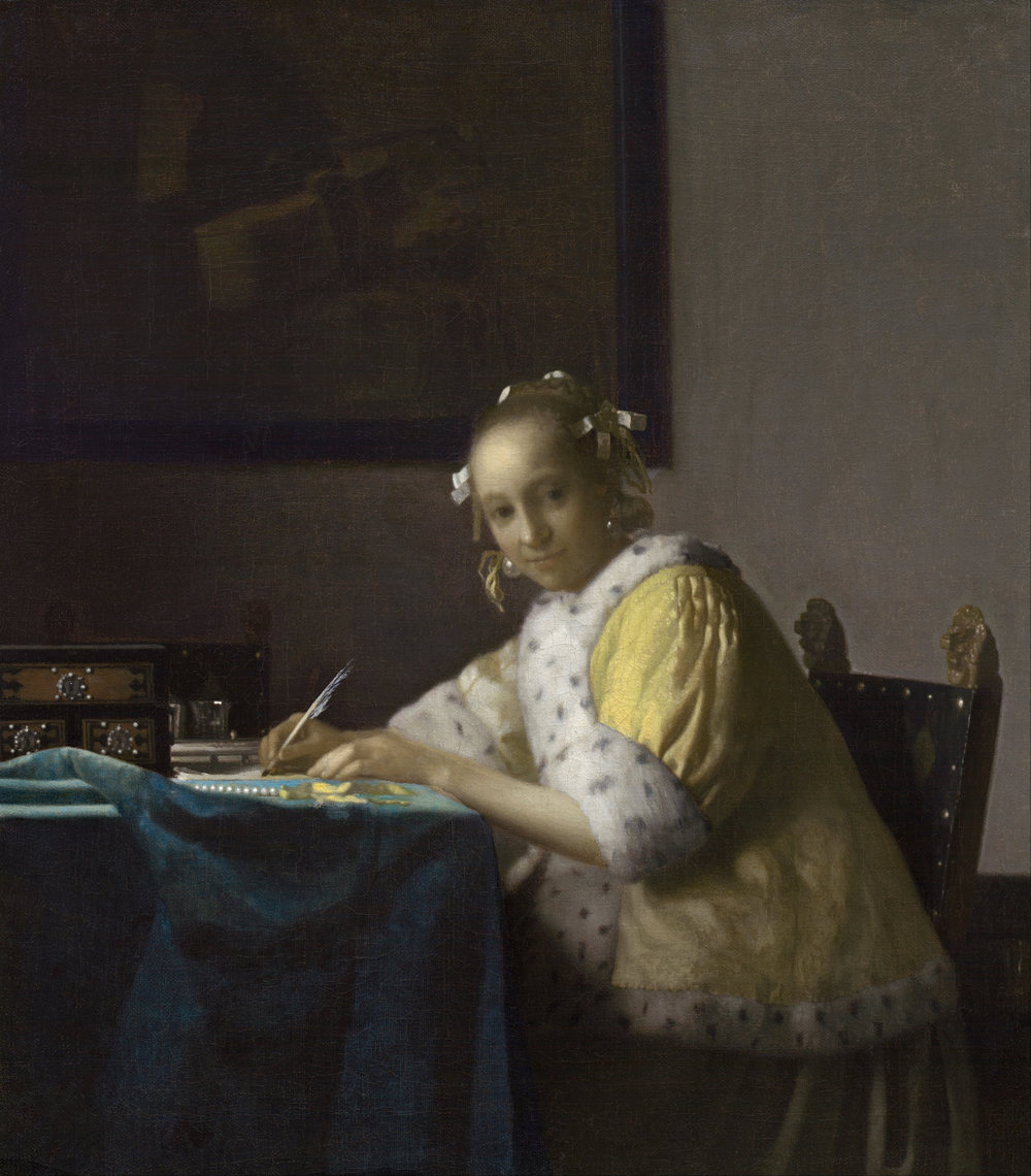 Johannes Vermeer, A Lady Writing (c. 1665); oil on canvas. Gift of Harry Waldron Havemeyer and Horace Havemeyer, Jr., in memory of their father, Horace Havemeyer. National Gallery of Art