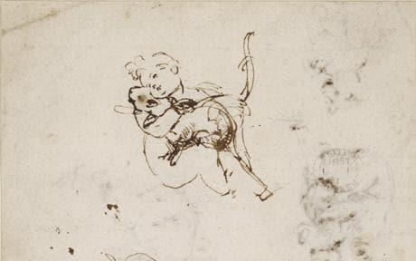 Leonardo da Vinci, Studies of the Infant Christ and a cat, c. 1478-81. Photo: TRUSTEES OF THE BRITISH MUSEUM