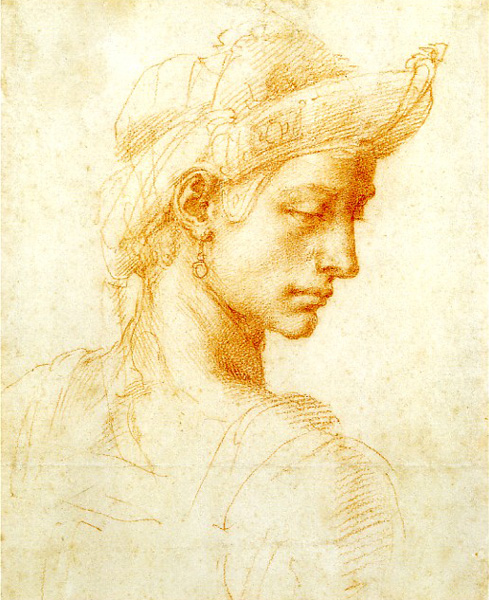 Head of a Young Man (?)   by Michelangelo , ca. 1516, red chalk, 8 x 6 1/2. Collection Ashmolean Museum, Oxford, England.
