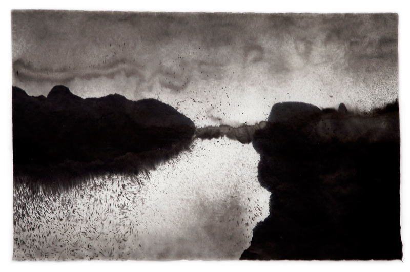 "Untitled (Image 4584) , 25""h x 38-1/2""w, water and Sumi ink on handmade kozo paper, 2010"