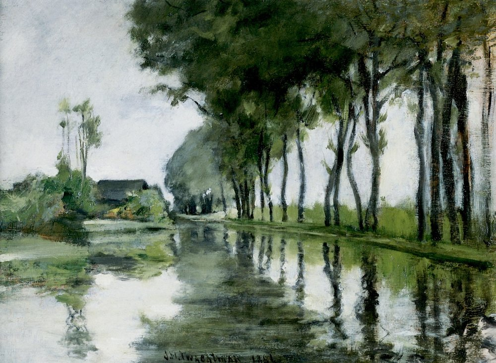 Canal Scene, Holland, 1881, oil on panel, John Henry Twachtman