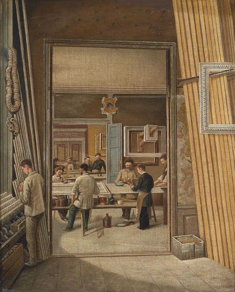 View of a frame-maker's workshop, oil on canvas, c 1900. (Image courtesy of Dorotheum)