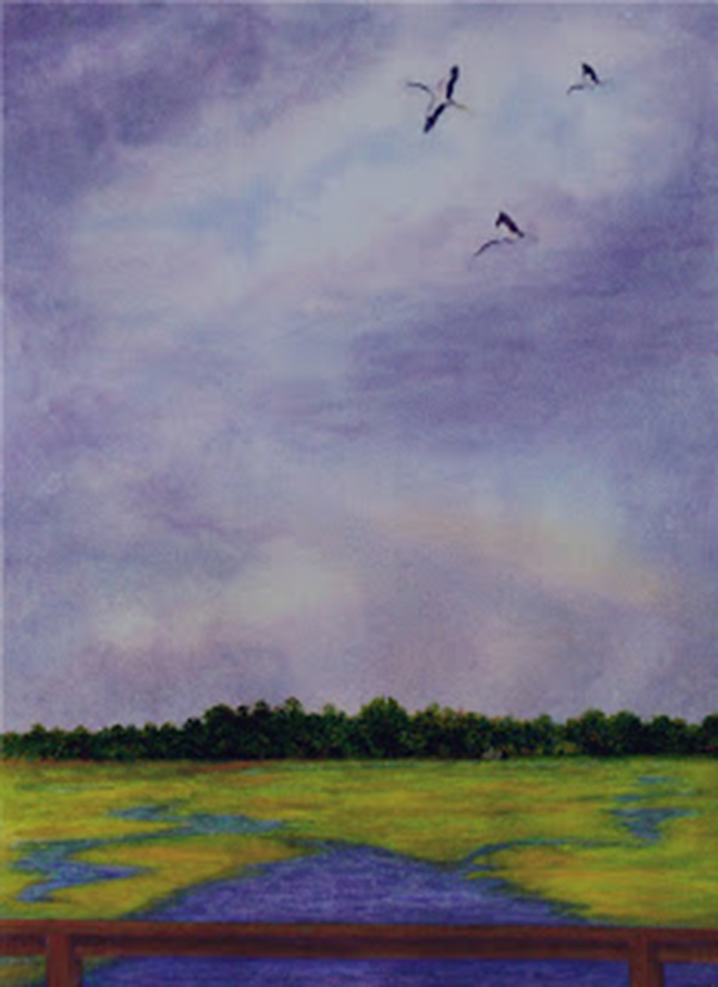 Soaring above Creighton, watercolour, Jeannine Cook artist