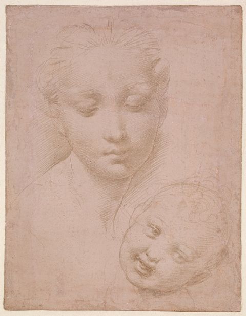 The Heads of the Virgin and Child, by Raphael, ca. 1502, silverpoint on warm white prepared paper, 10 x 7. (Image courtesy of The Trustees of the British Museum, London