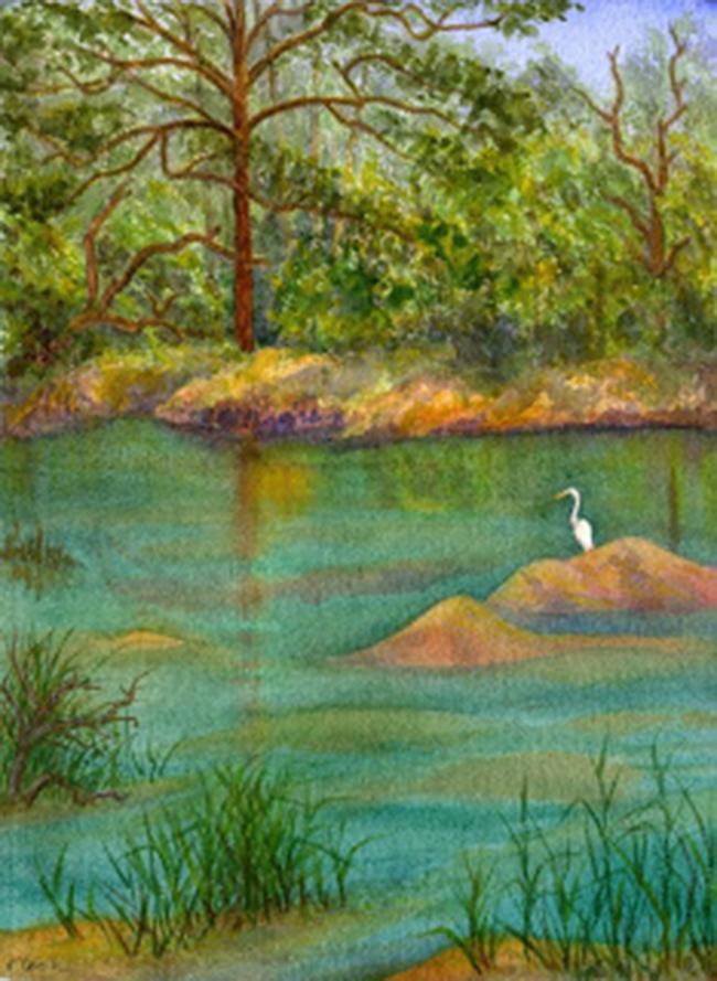 The Green Pond, Sapelo, watercolour, Jeannine Cook artist