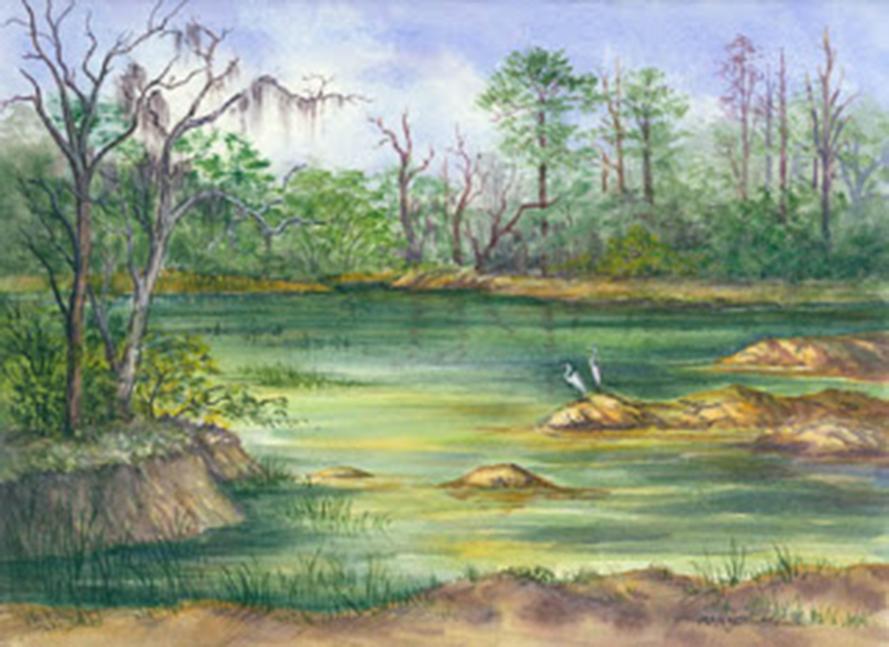 the Green Pond, Sapelo, watercolour, Marjett Schille (Image courtesy of the artist)