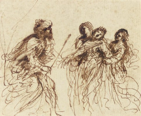 Esther and Asuhueerus,,pen and brown ink,brown wash, Il Guercino (Image courtesy of Christies)