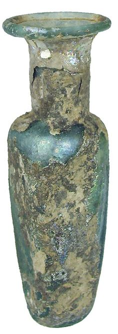Roman glass : Miniature light green glass bottle with a rectangular shaped body, indented base