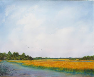 The Sweep of Marsh, watercolour, Jeannine Cook artist