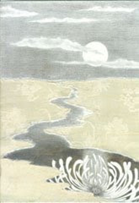 August Moon, silverpoint, silk, Jeannine Cook artisst