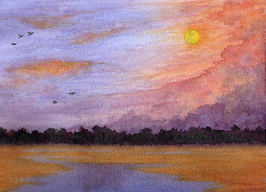 Moon over the Marsh, watercolour, Jeannine Cook artist