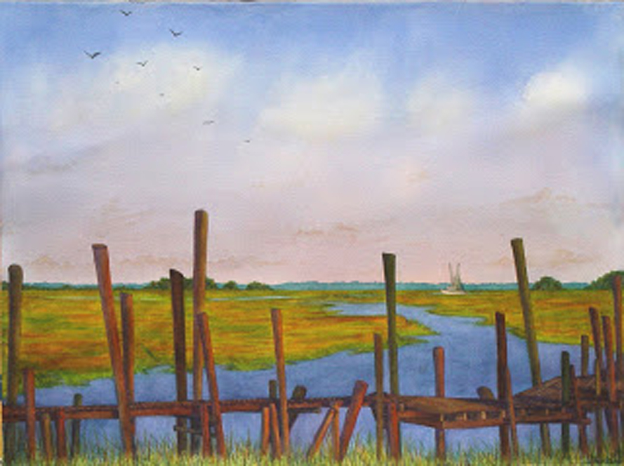 . Rhythms of the Old Wharf, watercolour, Jeannine Cook artist