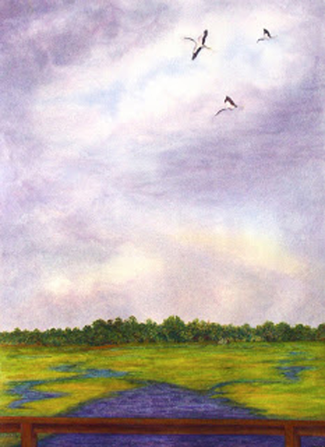 Soaring over Creighton, watervolour, Jeannine Cook artist