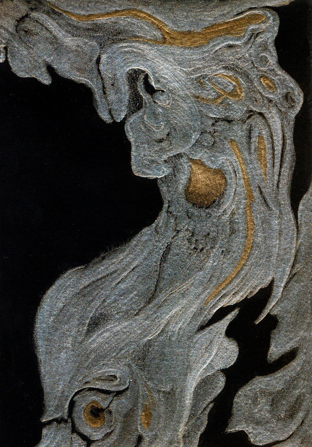 Obras IV, Olive bark - goldpoint-silverpoint, Jeannine Cook artist