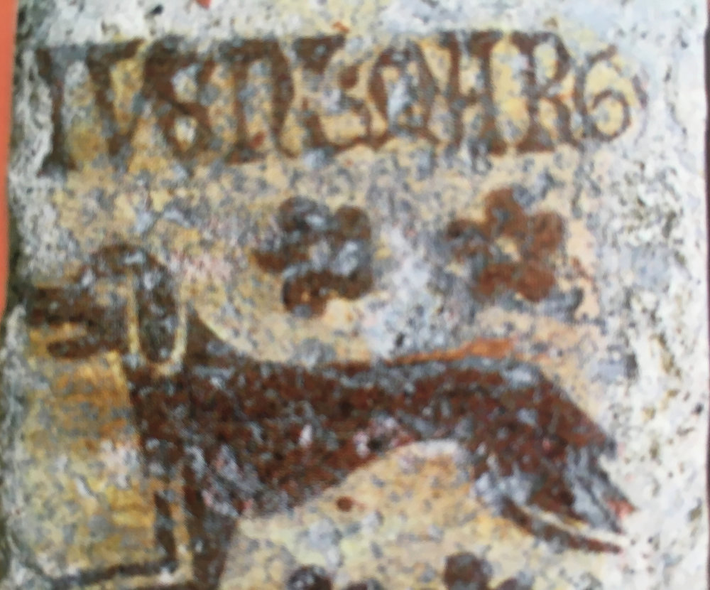 "A medieval tile depictiing a hunting dog in the Musée Saint Loup, Troyes (image in catalogue ""Carreaux de Pavement"")"