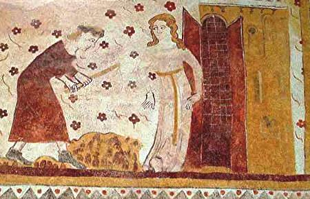 Adam hard at work, with Eve, detail of the above 13th century fresco.