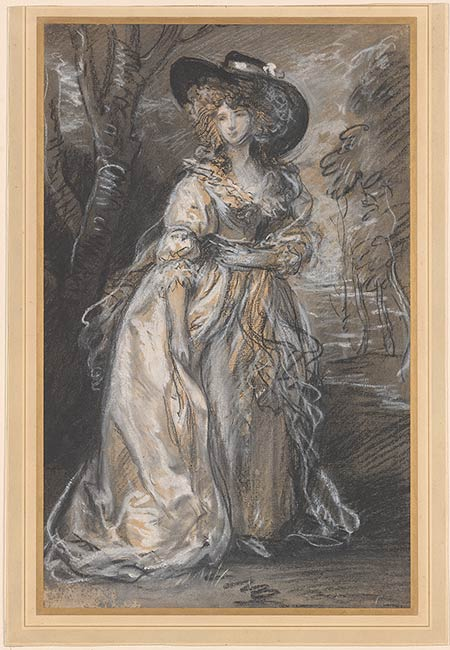 Lady Walking in a Garden ,  circa 1785, Thomas Gainsborough, black and white chalks with smudging, worked wet and dry, watercolour on laid paper. (Image courtesy of the Morgan Library, New York)