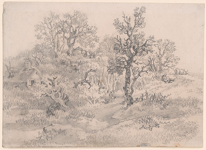 Wooded Landscape with Cottage, Cowherd and Cow, circa 1750, graphite with smudging on laid paper, Thomas Gainsborough, (Image courtesy of the Morgan Library).  This early drawing is one which showed clearly the influence of Dutch artists such as Anthonie Waterloo and Jacob von Ruisdael..