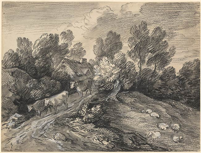 Hilly Landscape with Cows on the Road, circa 1780, black chalk with smudging, white chalk applied wet, on wove paper, Thomas Gainsborough (Image courtesy of the Morgan Library).. This late drawing, almost abstract and geometrical in construction, shows Gainsborough's main interest is in the overall effect of the drawing, with a decreased emphasis, at this stage in his artistic career, in depicting reality.