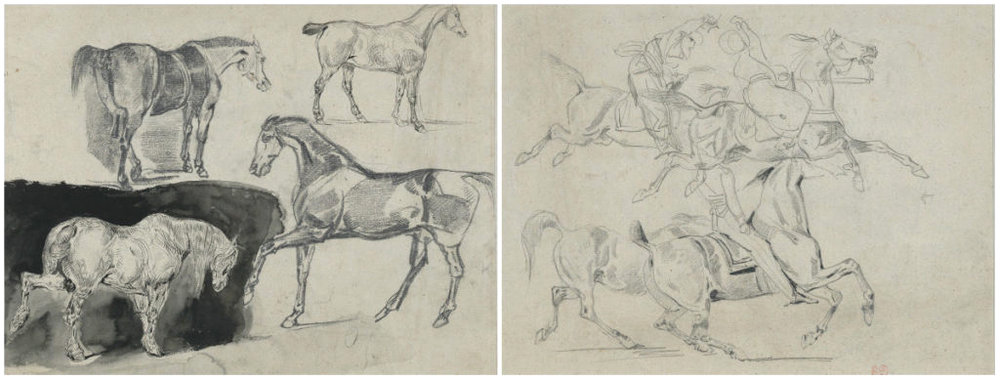 Four Studies of Horses  (recto);  Four Studies of Galloping Horses and Riders  (verso). Eugène Delacroix (French, 1798–1863). Pen and ink, brush and black wash (recto); graphite (verso), 1824–25. (Images courtesy of the Metropolitan Museum, New York)
