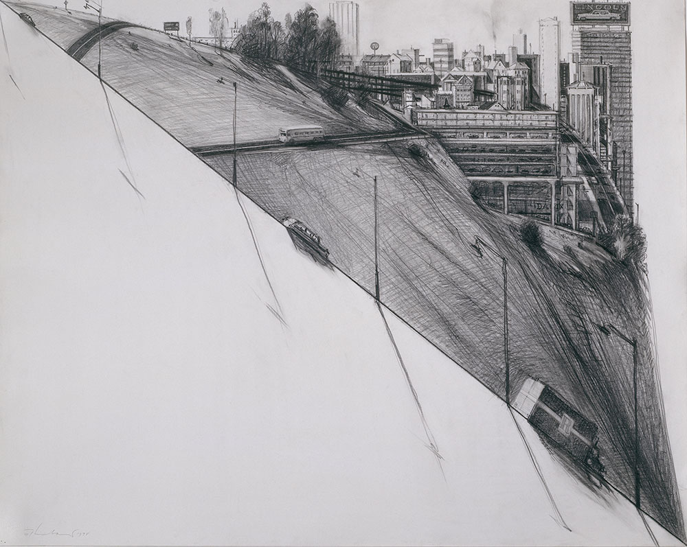 Diagonal City , 1978, graphite. Collection of Harry W. and Mary Margaret Anderson. © Wayne Thiebaud/ Licensed by VAGA, New York, NY (Image courtesy of the Morgan Library, New York)