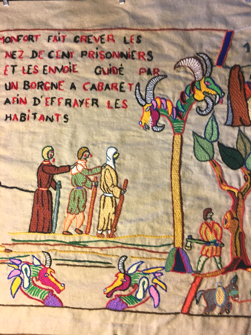 Simon de Montfort had a hundred prisoners blinded and sent them back, as a cautionary example, to the villagers, led by a one-eyed man. (Photography J. Cook)