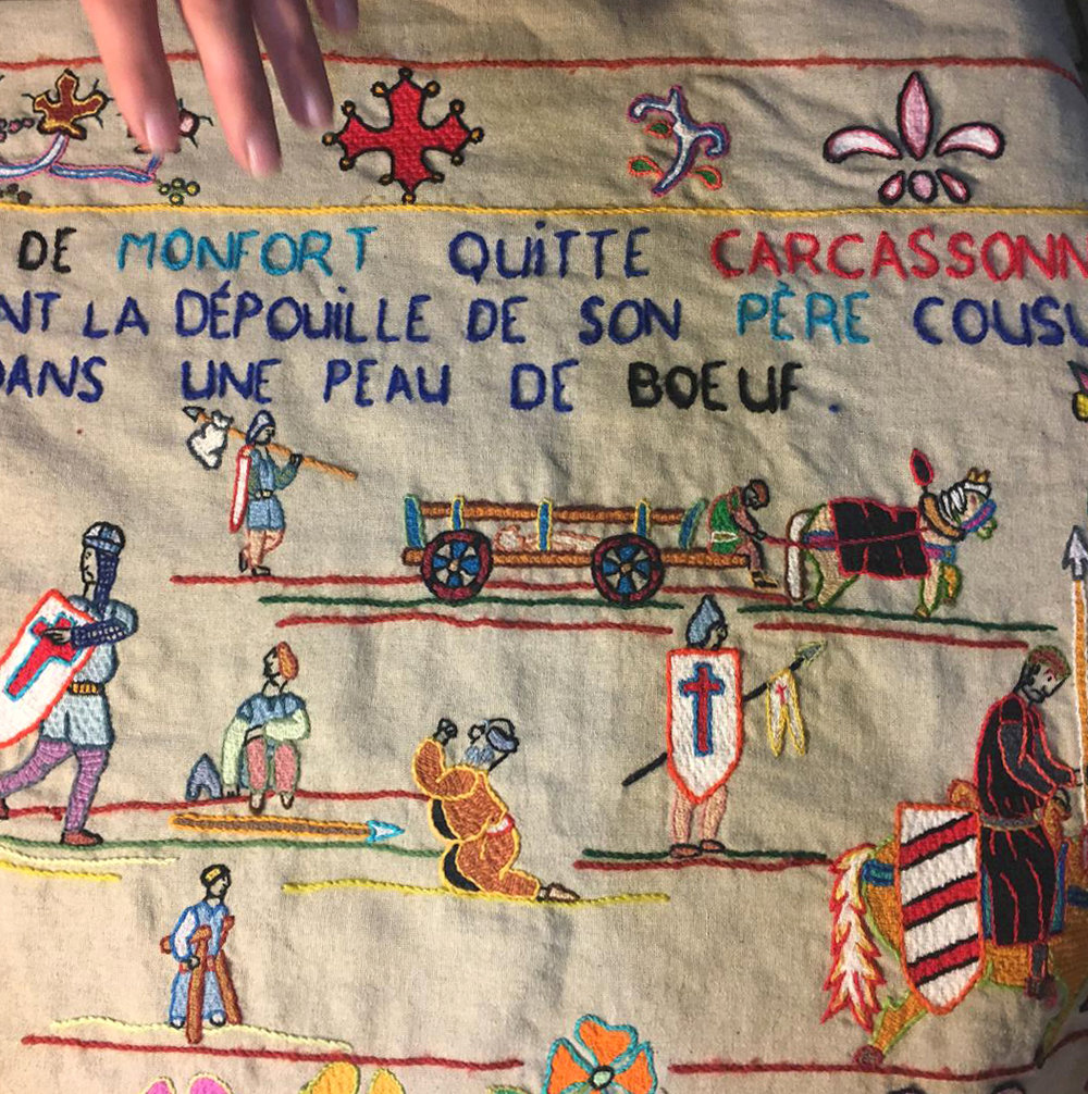 When Simon de Monfort was killed, his body was concealed in the carcass of a bullock to be taken back north, a long arduous trip, in summertime! Alain Dodier explained all these details graphically. (Photography J. Cook)