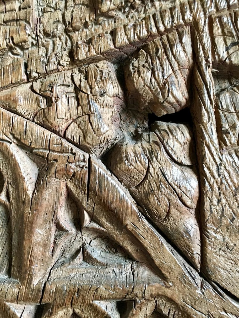 Detail of an oak carving, Haddon Hall (photograph J. Cook)