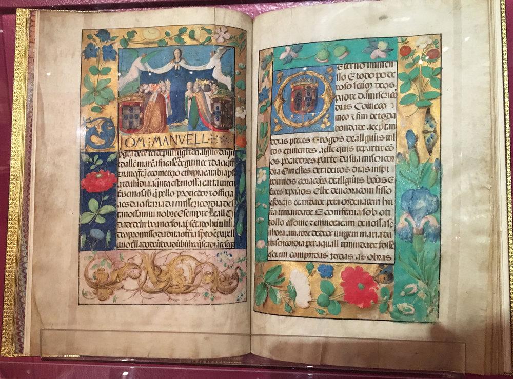 Compromisso da Cofrareria da Miseric ó rdia da nossa Cidade de Lisboa,  27 abril de 1520, attributed to António de Holanda, 1480-1557, Santa Casa da Misericórdia, Lisboa. (exhibited at Portuguese National Library, photograph J Cook)