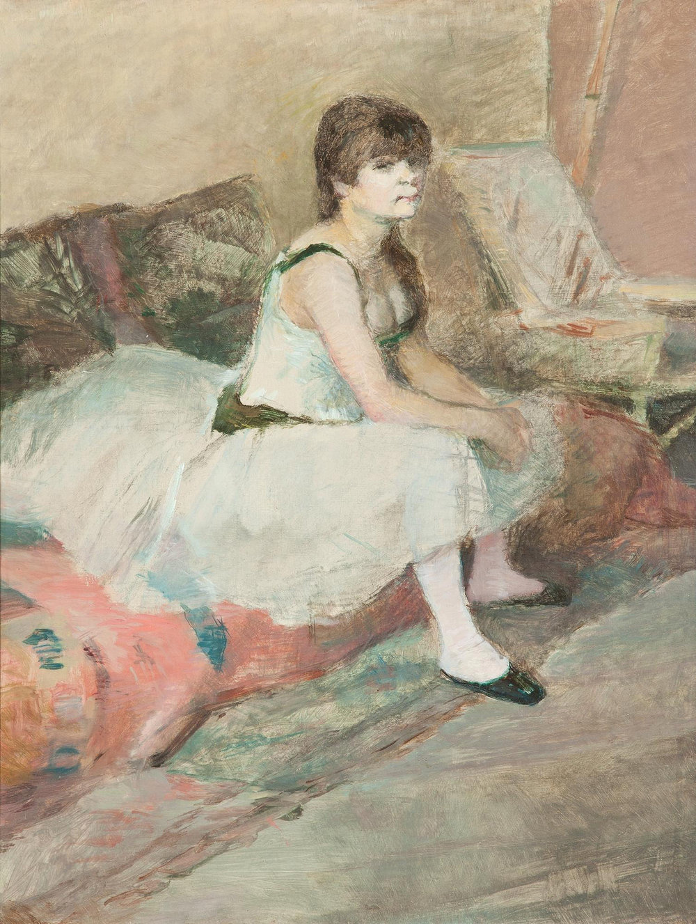 Dancer Seated on a Pink Divan, oil on canvas, 1884, Henri Toulouse-Lautrec (Image courtesy of The Dixon Gallery and Gardens)
