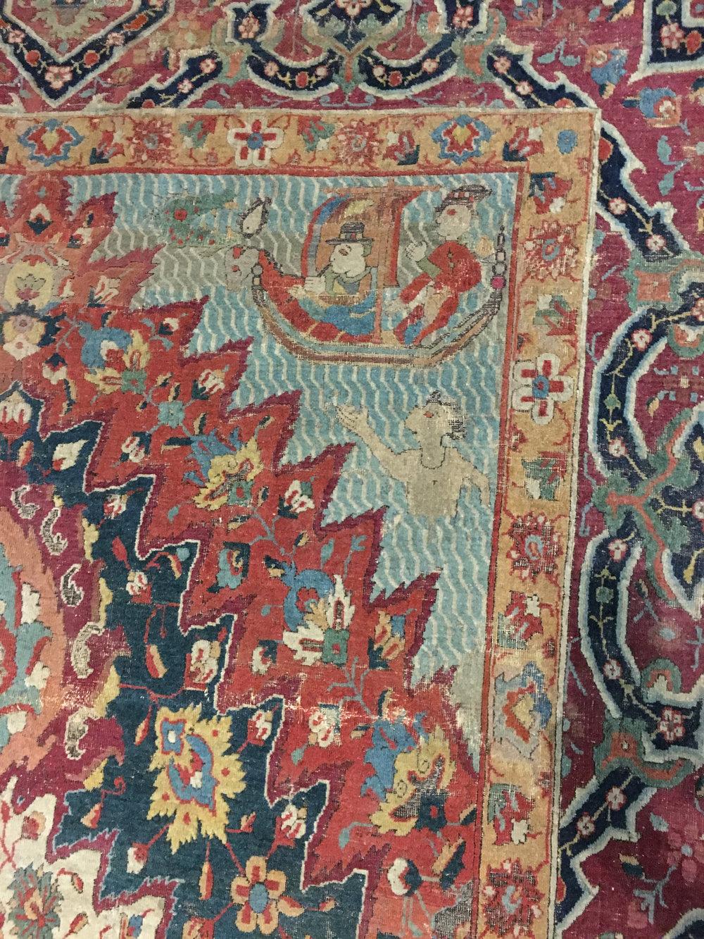 "Detail of one corner, ""Portuguese carpet"", Persia, Khorasan?, 17th century, Safavid period, wool pile. Calouste Gulbenkian Museum, Lisbon (Photograph J. Cook)"