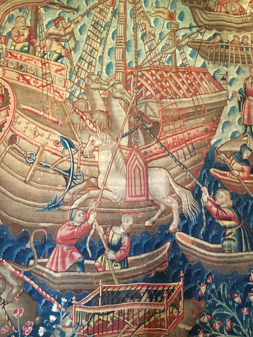 Detail, The Discovery of India, tapestry, Tournai, 1504-30, Museu de Arte Antiga, Lisbon. ((Photograph J. Cook)