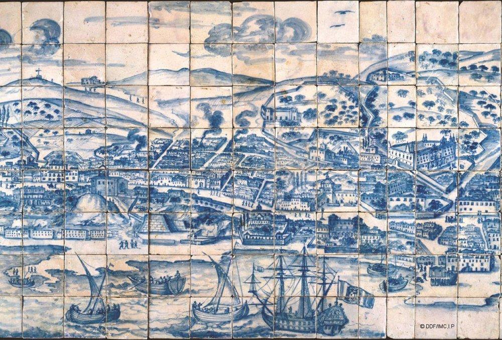 Panorama of Lisboa c. 1700, Blue and white tile. Image courtesy of Museu Nacional de Azulejo, Lisbon