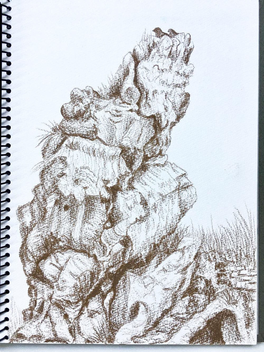 Along the Gravinia ravine face, near a Rock Church, Matera, Basilicata - Limestone Rocks 10.8.2012. Prismacolor. J. Cook artist