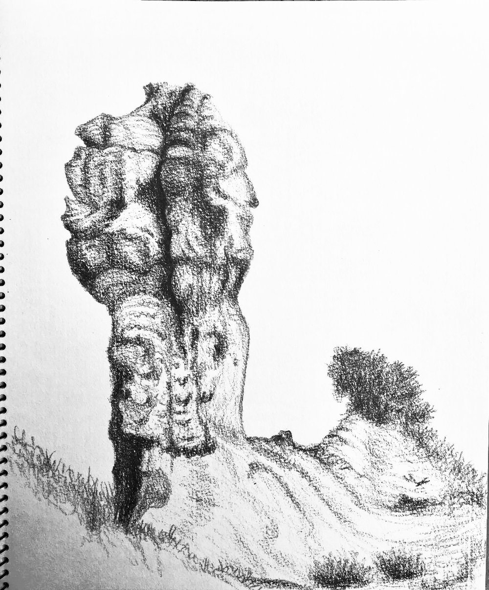Another ridge, a guardian of Senise and Neopoli, 30.7. 2012. Prismacolor. J. Cook artist