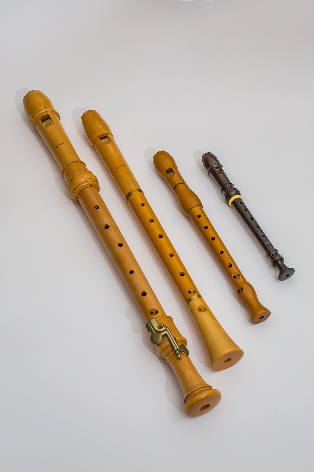Different types of recorders, which each play a different pitch range, e.g. alto, soprano, tenor.
