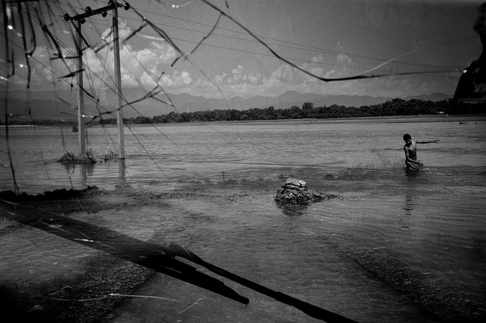A composite to show shattered lives in a flood caused by a breached embankment in Upper Assam.